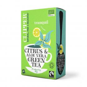 Organic Fairtrade Green Tea with Citrus & Aloe Vera 20 bags
